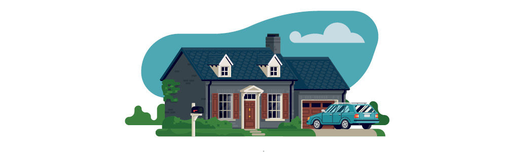 Illustration of a suburban house