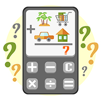 Calculator with images indicating home, groceries, car and vacation